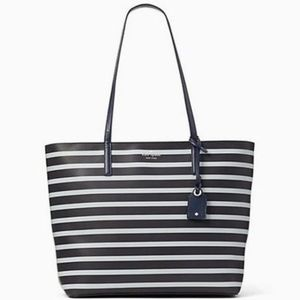 Kate Spade Tote NavyBlue w/White Stripes w/ wallet